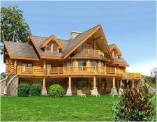 Maison en rondins calibre, plus de 300 mètres carrés, une architecture particulière.