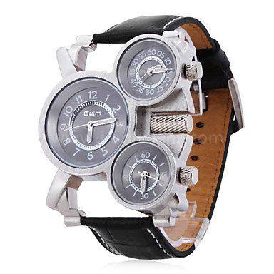 OULM montre à quartz avec trois fuseaux horaires