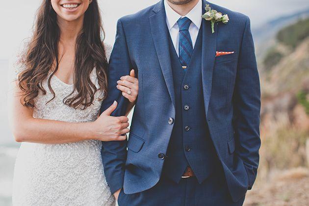 Bride wears #THEIA 'Lilia' beaded gown. Brides: An Intimate Destination Wedding in Big Sur, California http://www.brides.com/blogs/aisle-say/2015/04/big-sur-destination-wedding-ideas-evynn-levalley.html?mbid=social_pinterest?mbid=social_pinterest