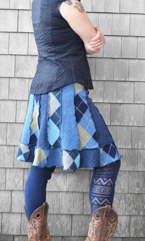 Trui rok vrouwen Argyle Upcycled kleding zachte warme wol Pixie Diamond Patchwork Blue comfortabele Multi grootte geometrische klaar voor schip
