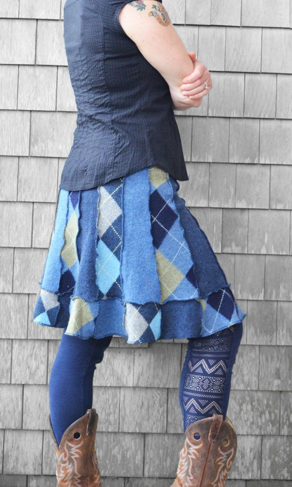 Sweater Skirt Women's Argyle Upcycled Clothing Soft Warm Wool Pixie Diamond Patchwork Blue Comfortable Multi Size Geometric Ready to Ship