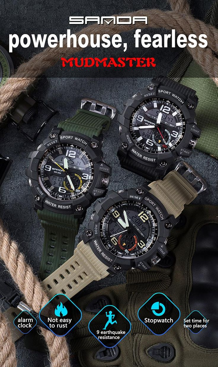 SANDA Brand Men Sport Watch LED Digital Waterproof Casual Shock Male Clocks Relogios Masculino Men's Gift Military Wrist Watches-in Sports Watches from Watches on Aliexpress.com | Alibaba Group