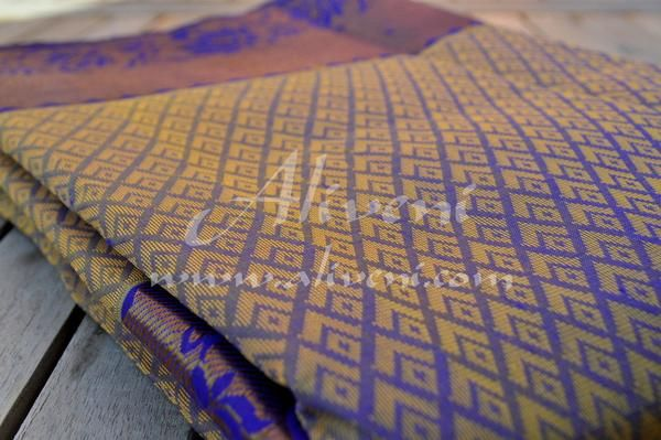Dark Purplish Blue Kuppadam Saree with Light Yellow Motifs all over - Aliveni  - 3