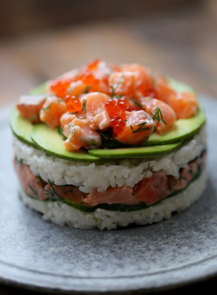 Gâteau sushi au saumon   On dine chez Nanou