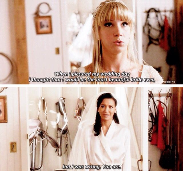 Santana and Brittany before their wedding