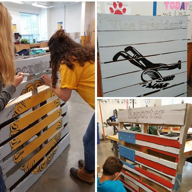 Need a creative way to change up you opening ceremony or something special for the year end banquet? Have your students create the officer stations with pallets and paint. Katie Simunich