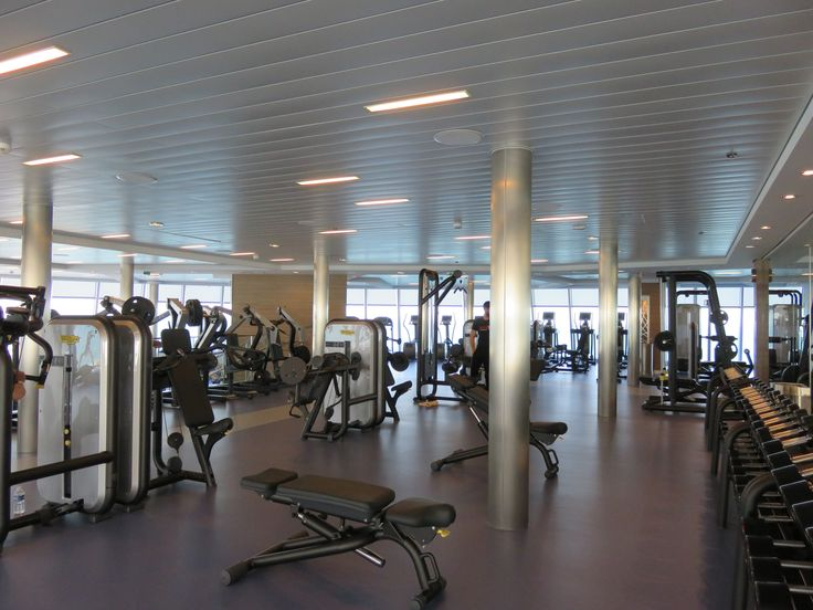 Royal Caribbean International - Naming of Athem of the Seas - The weightlifting part of the gym.