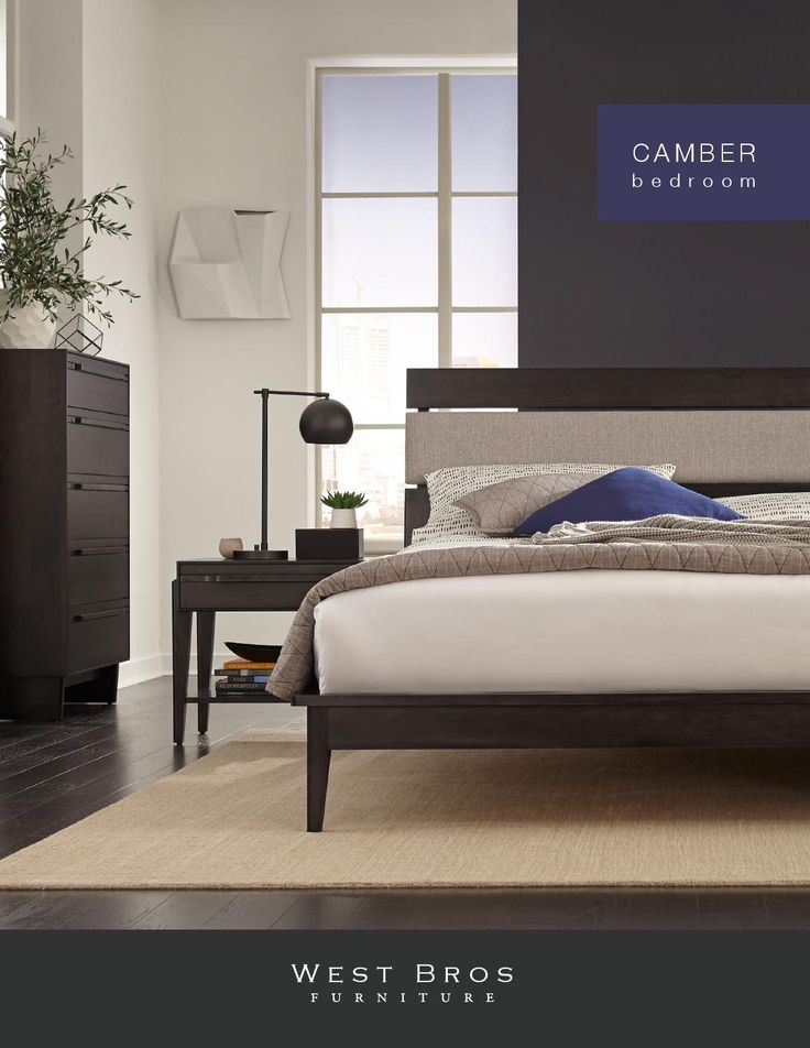 West Bros Furniture Camber Bedroom Made from natural cherry, the Camber bedroom offers elegant bedroom options from media storage, wood or upholstered headboard beds. With art nouveau elements this contemporary collection has clean lines and finishes that enhance the natural beauty of the wood.