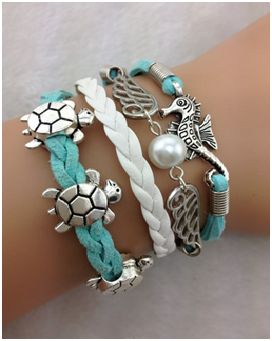 Lovely summer bracelet with sea theme in aqua.