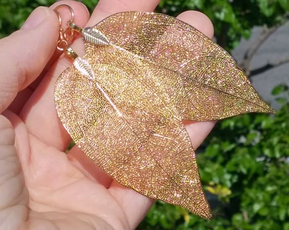 Real Leaf Earrings Gold Boho Earrings Boho Jewelry Statement