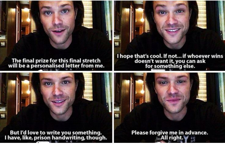 Supernatural   Jared is such a sweetheart! I just want to give him a hug through my computer!