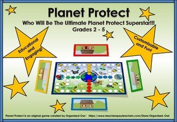 WHO WILL BE THE ULTIMATE PLANET PROTECT SUPERSTAR? Planet Protect engages students in a fun way; it creates opportunities for discussion on how humans have an effect on our planet environments in a multiple of ways. The bright colors and individual house boards which can be customized with environmental items is an exciting addition to game play. The blank draw cards have been provided as an extra and are a fantastic way to extend student knowledge on the environment.