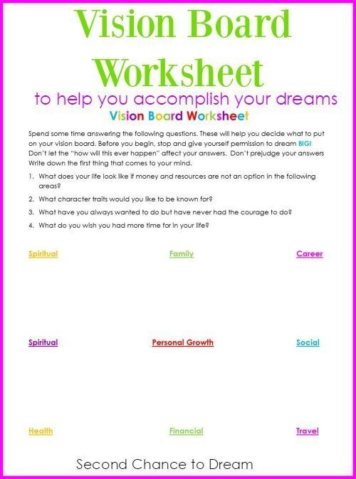 Second Chance to Dream: Vision Board Worksheet #dreams #visionboard #success
