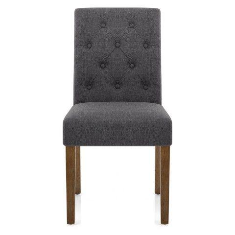 Denver Oak Dining Chair Charcoal Fabric - Atlantic Shopping