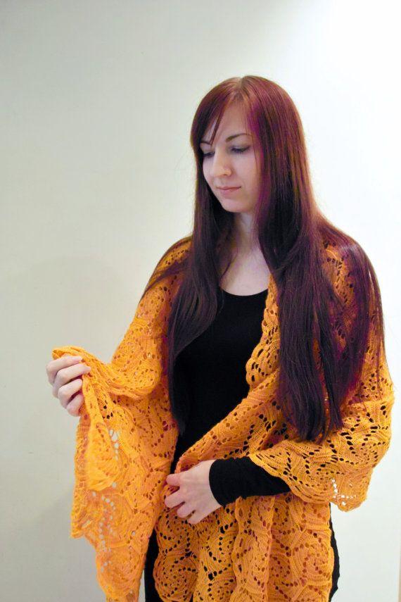 Large soft autumn colour orange crochet women by CrochetedMoon, $155.00