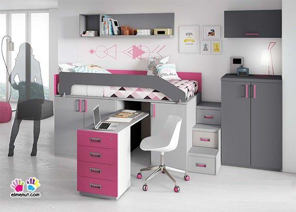 habitacin infantil con cama alta sobre armarios block con escritorio