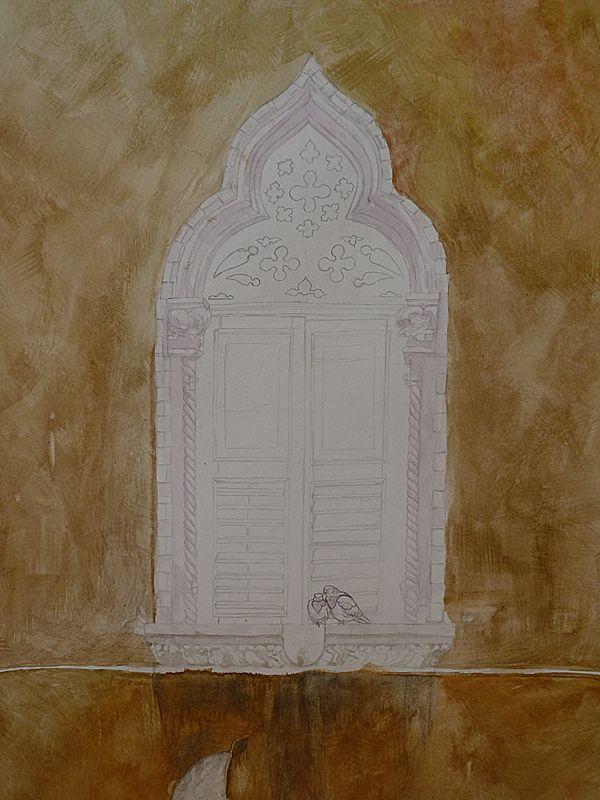 fenster malen  aquarellfarben alte architektur malen