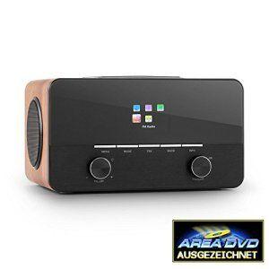 auna Connect 150 Radio internet 2.1 avec WiFi et lecteur multimédia USB (tuner DAB+ et FM, 2 réveils, écran couleur, égaliseur) – bois