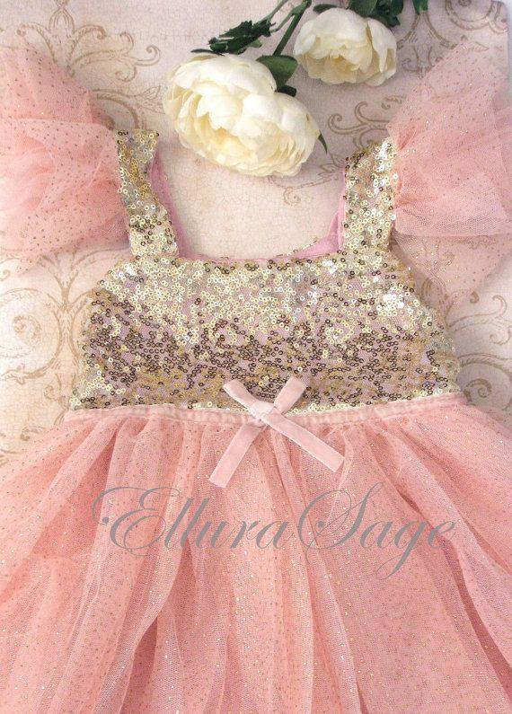 Vestido de la muchacha de flor Blush flor chica por ElluraSage