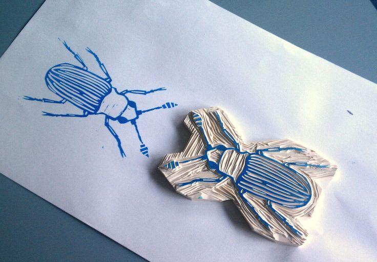beetles block print | by ErinLangNorris/YellowCanoe