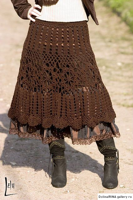 beautiful crochet skirt, I love browns..