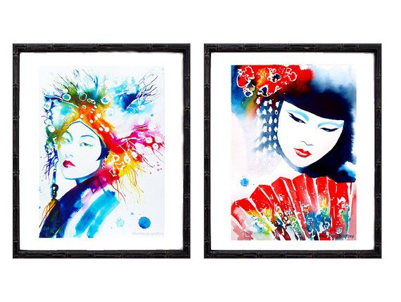 Set of 2 Fine Art Prints Geisha Japanese by KimberlyGodfrey