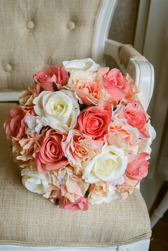 Coral,  peach and ivory silk wedding bouquet. Coral wedding flowers -  by Laurel Weddings