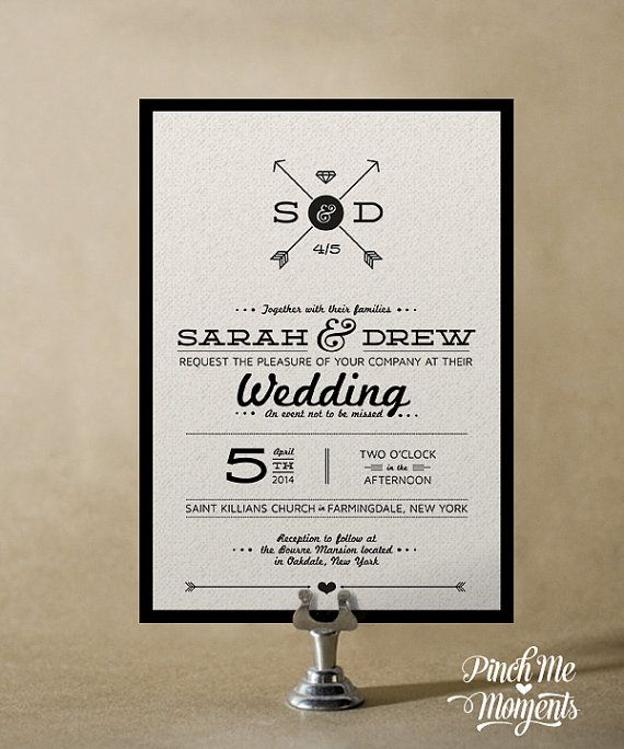 B Modern Typography Wedding Invitation Set by PinchMeMoments