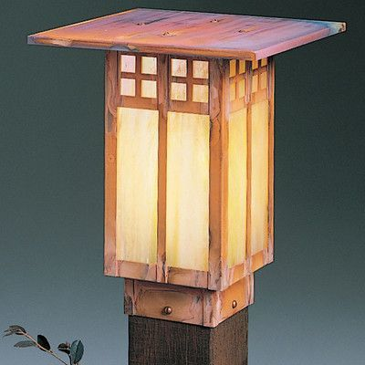 "Arroyo Craftsman Glasgow Outdoor 1-Light Lantern Head Size: 12"" H x 9"" W, Finish: Verdigris Patina, Shade Type: Gold White Iridescent"