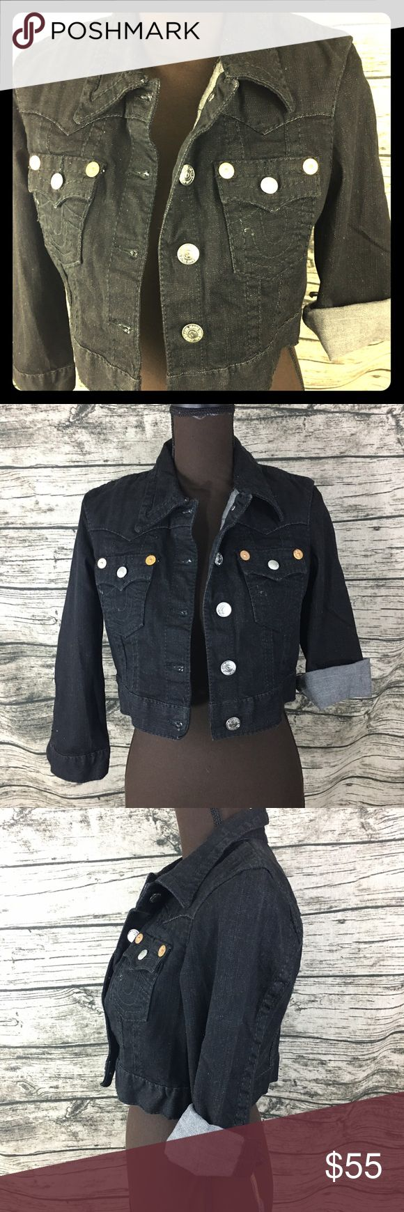 EUC True Religion Black Jimmy Crop Jean Jacket Never been worn True Religion Crop Black denim jean jacket.  Can be worn many ways dressed up or for a night out! Be the star of the show with this jacket! Last two photos show style ideas, not actual jacket! Small writing on inside jacket by tag. True Religion Jackets & Coats Jean Jackets