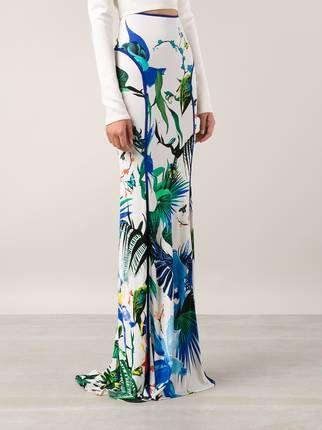 Roberto Cavalli falda larga con estampado tropical