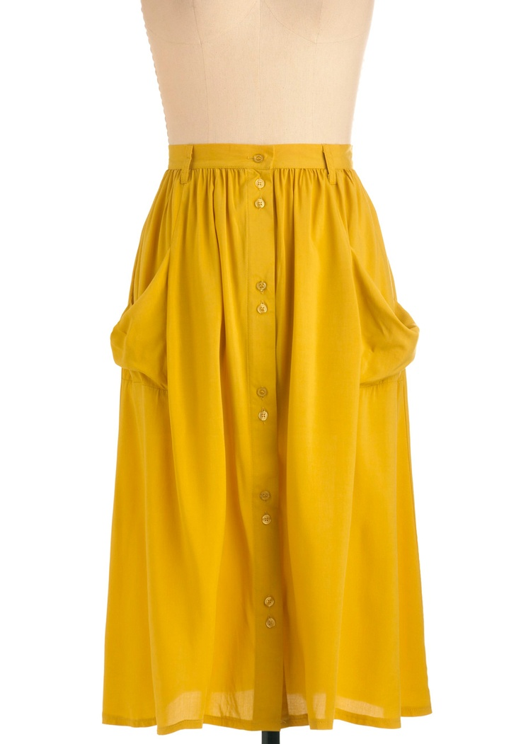 Just Dandelion Skirt - Long, Casual, Vintage Inspired, 70s, Yellow, Solid, Buttons, Pockets