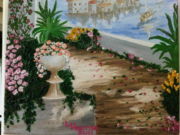 Floral Vista my first sold painting went for R1200. ( small box canvas)