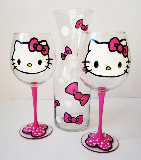 Hello Kitty Glasses. I WANT...NO I NEEDS!!!!!!Ultimate Hello, Wine Sets, Diy Gift, Hellokitty, Glasses Sets, Kitty Wine, Wine Glasses, Hello Kitty, Wineglass