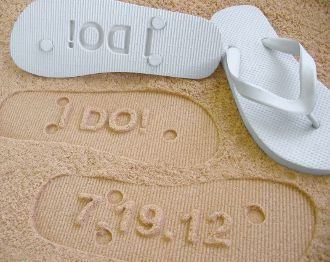 """""""I DO"""" sand imprint flip flops from Flip Side Flip Flops. Personalized with a date or a name! Leave impressions In Sand and Soft Soil With Each Step! Made using 100% natural foam rubber flip flops with rubber Straps, for incredible comfort and durability, and cut with a unique Patent Pending process. Available in many sizes and colors    GREAT FOR: Beach Weddings, Bride and Groom, Bridesmaids, Bridal Events, and Honeymoons."""