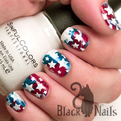 4th of july nails water marble