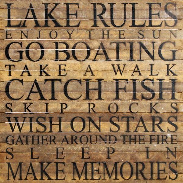 Lake Rules Reclaimed Wall Art #shoplikeadesigner http://three50west.com/