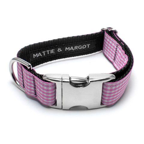 Mattie & Margot Pink Gingham Dog Collar From $31.95