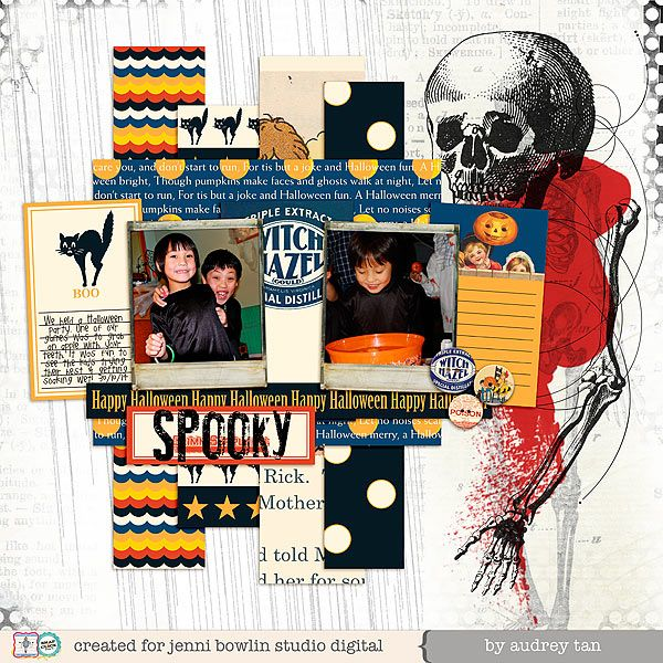 jbs inspiration: Vintage Halloween and Printer's Block available at www.snapclicksupply.com #digitalscrapbooking #JenniBowlin