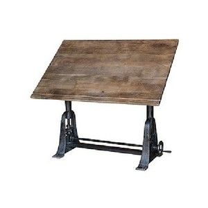 Large Industrial Drafting Table Vintage Wood Solid Iron Vintage Finish  Heavy | EBay $2800