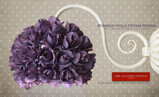 Rose Bonbon Wall Sconce with a Red patina finish -GBS Illuminazione – Ferro Battuto – Wrought Iron – GBS Arte e Colore
