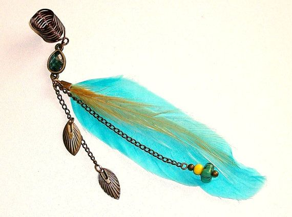 Dreadlock Jewelry - Turquoise Feather and Chain Loc Jewel