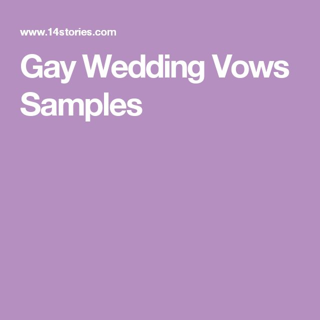 from Ridge gay wedding vows examples