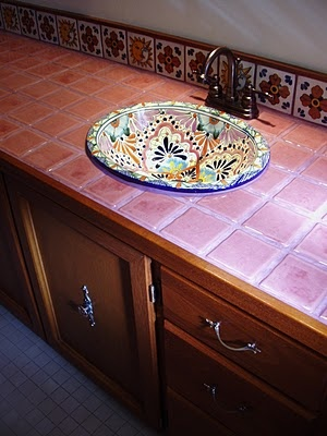 Mexican tiled bathroom w/talavera sink--Perfect look for our guest bathroom.