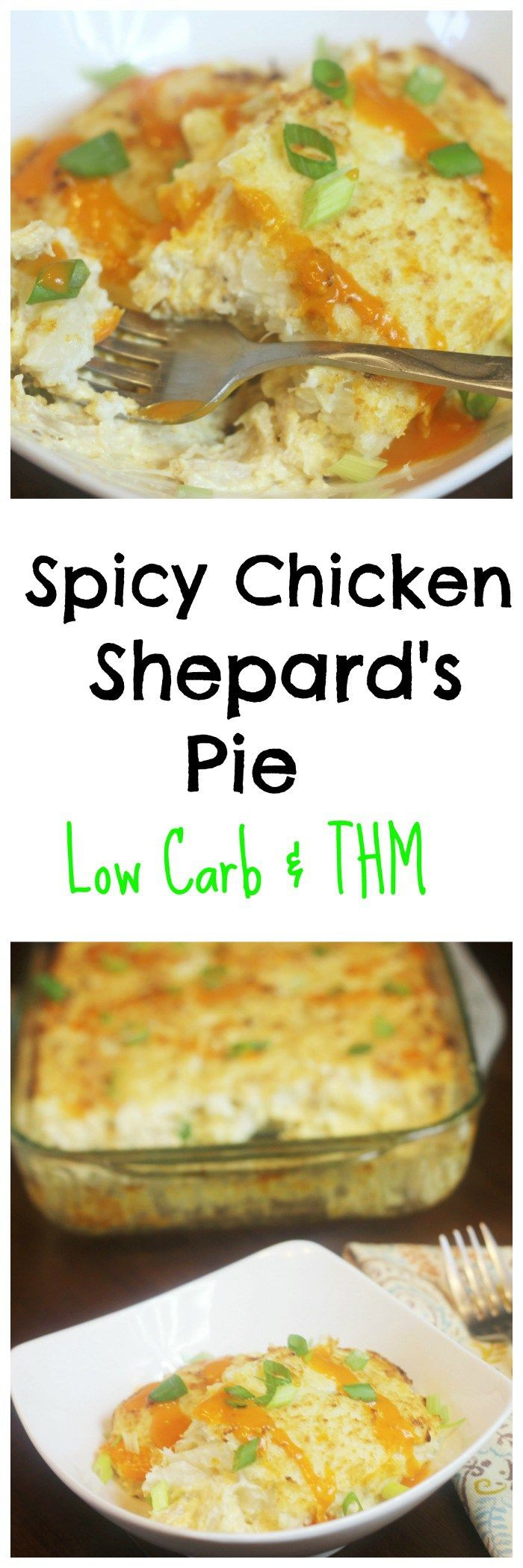 Spicy Chicken Shepard's Pie || Low Carb, THM Casserole, Buffalo Chicken....sub ranch for the hot sauce if you don't want spicy!