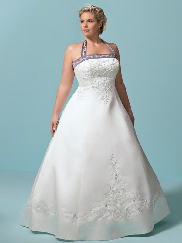 A Line Halter Satin Floor Length 2012 Discount Plus Size Wedding Dresses