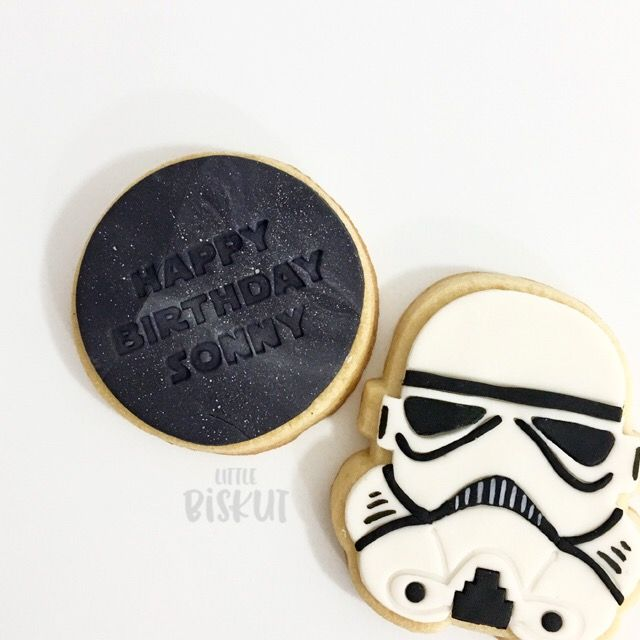 Custom birthday Star Wars Storm Trooper decorated cookies