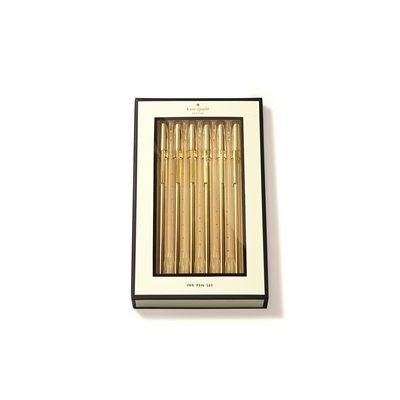 """Take a shine to everyday office supplies reimagined with a midas touch. Whether you dress up your desk with the whole collection or just one piece (hello strike gold pen set!), may the mix of metallic gold and acrylic bring a luxe twist to even the most mundane of tasks. Set of 6. 5.75""""."""