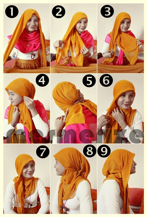 trulicious: Hijab Tutorial part 3 It's just need paris hijab or square hijab (fold it into triangle) and several pins. Simple and Easy.. :)