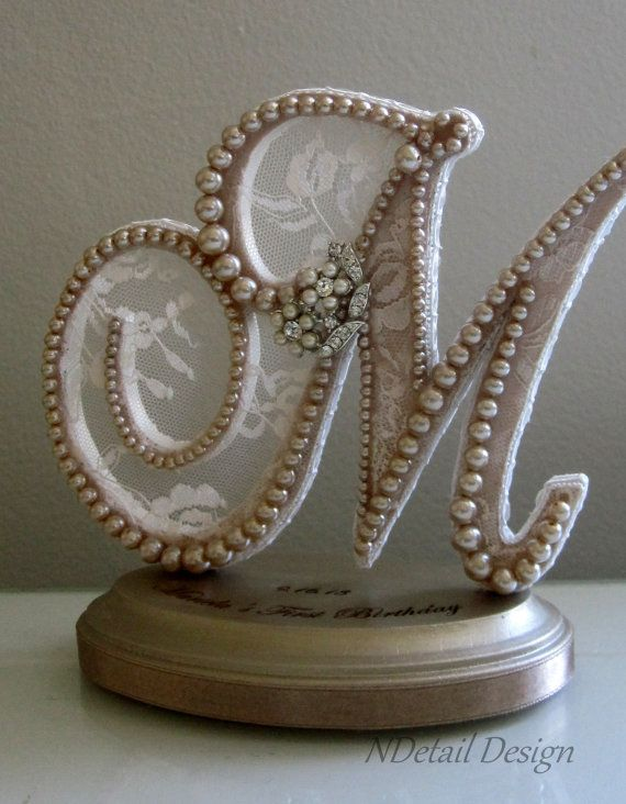 Wedding Cake Topper Monogrammed Pearl Letter M by NDetailDesign